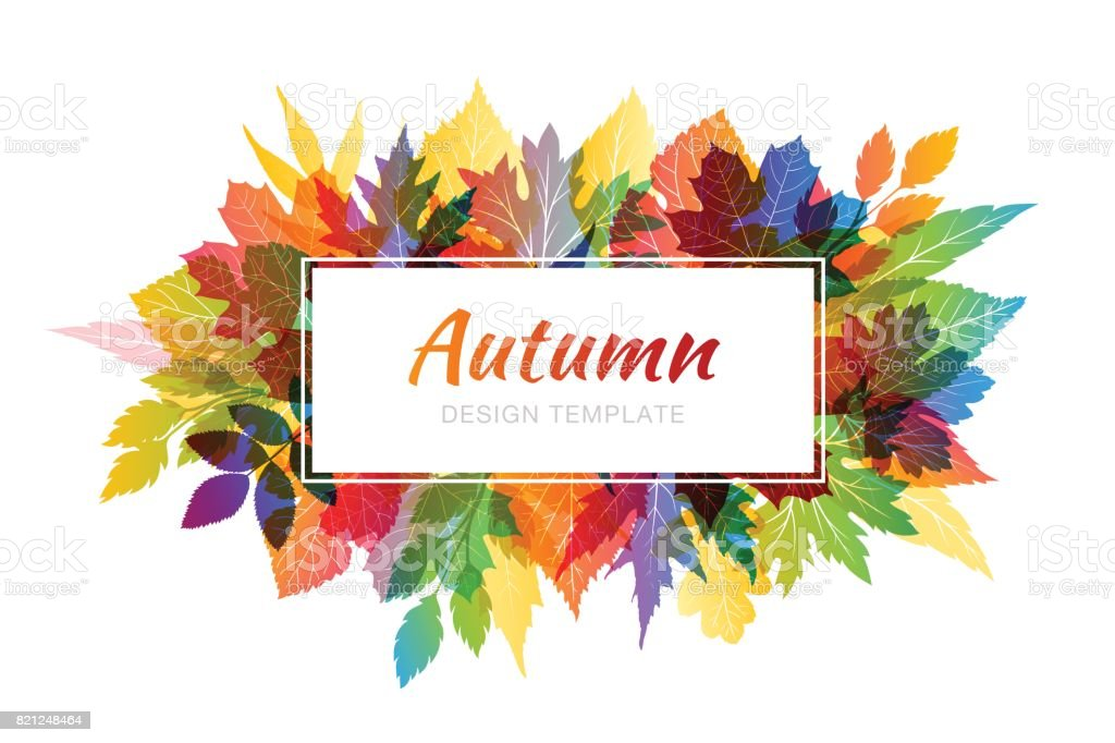 Autumn colorful background with various leaves vector art illustration