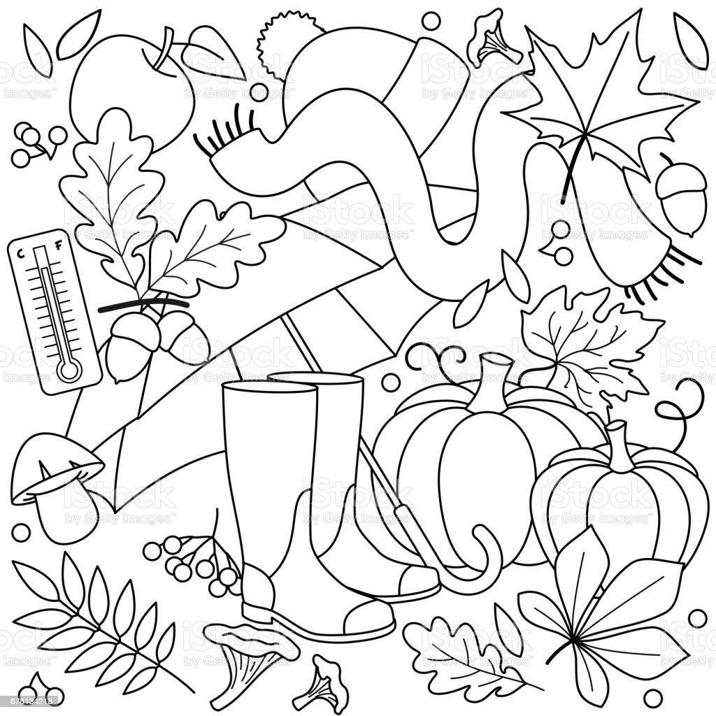 Ilustración de Otoño Para Colorear Para Niños y más banco de ...