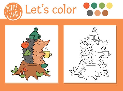 Autumn coloring page for children. Cute funny hedgehog with cup of tea sitting on the tree stump. Vector fall season outline illustration. Forest animal color book for kids with colored example