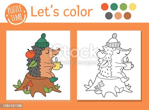 istock Autumn coloring page for children. Cute funny hedgehog with cup of tea sitting on the tree stump. Vector fall season outline illustration. Forest animal color book for kids with colored example 1264131108