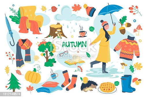istock Autumn concept isolated elements set. Bundle of girl in raincoat with umbrella, fall yellow leaves, rainy weather, reading books, cozy warm clothes, forest. Vector illustration in flat cartoon design 1312149574