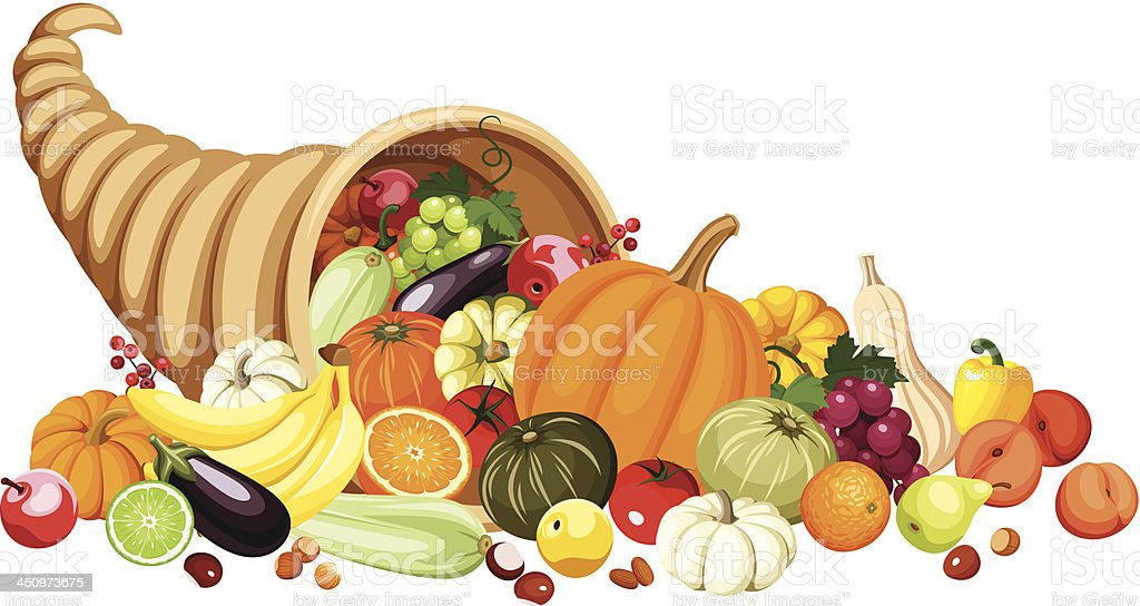 autumn-cornucopia-with-fruits-and-vegetables-vector-vector-id450973675