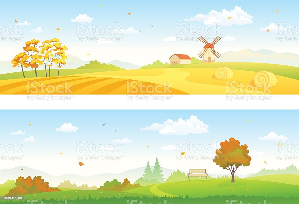 Autumn countryside banners vector art illustration