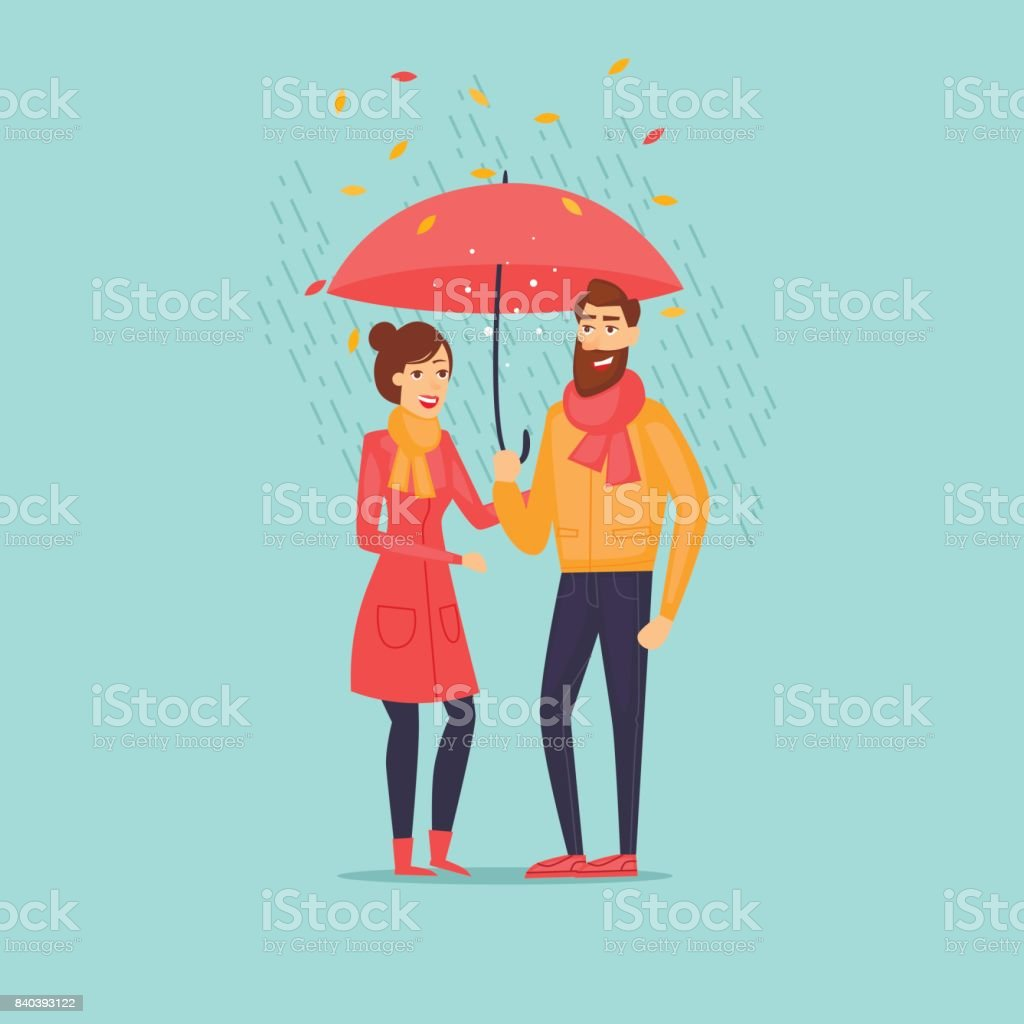 Autumn couple with an umbrella in the rain. Flat design vector illustration. vector art illustration