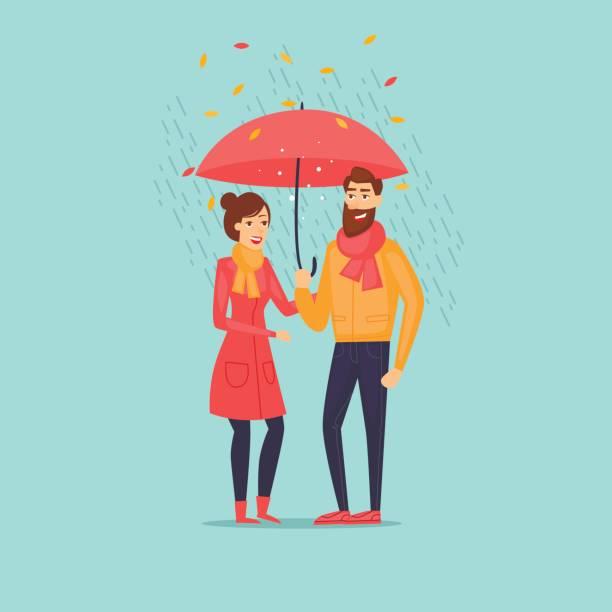 Autumn couple with an umbrella in the rain. Flat design vector illustration. vector art illustration