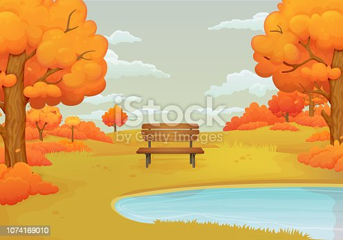 Autumn day vector illustration. Wooden bench by the lake with orange bushes and trees with falling leaves. Withered meadows and gray sky with clouds on the background.