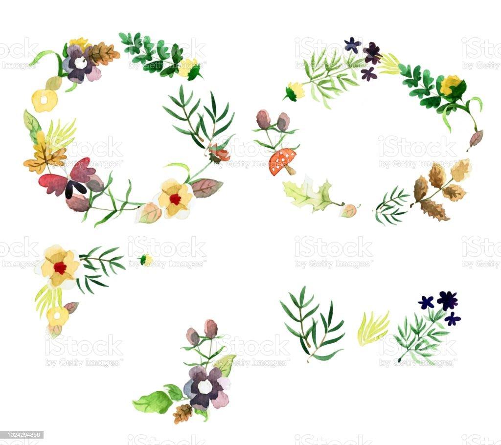 Herbst Blumen Zierrahmen Mit Grunen Blattern Und Blumen In