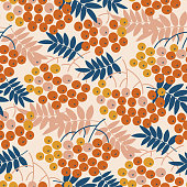Autumn decorative rowanberry seamless pattern. Simple fall berries repeatable motif  for fabric, wrapping paper, surface design projects.