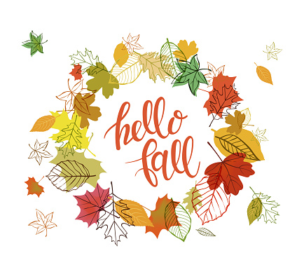 Autumn design. Vector illustration Autumn falling leaves doodle style. Templates for placards, banners, flyers, presentations, reports.