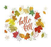 落ち葉で秋のデザイン