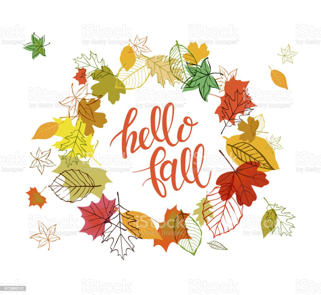Autumn design with falling leaves - illustrazione arte vettoriale