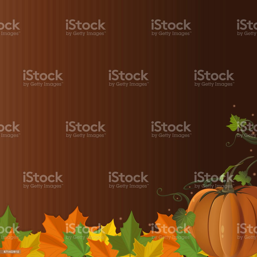 Autumn design with pumpkin and fallen leaves vector art illustration