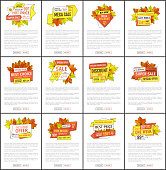 Autumn season discounts on Thanksgiving vector web pages set. Hot price exclusive products buy at super promo price posters with oak and maple leaves, text
