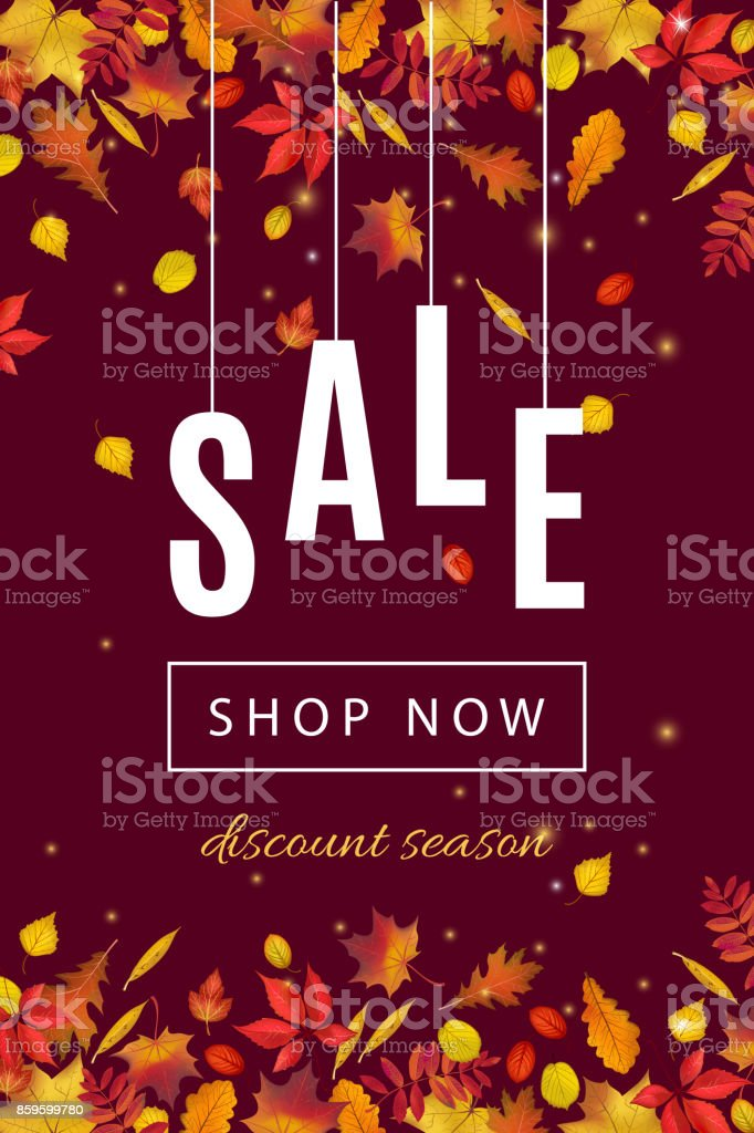 autumn discount sale banner template with fall leaves stock vector