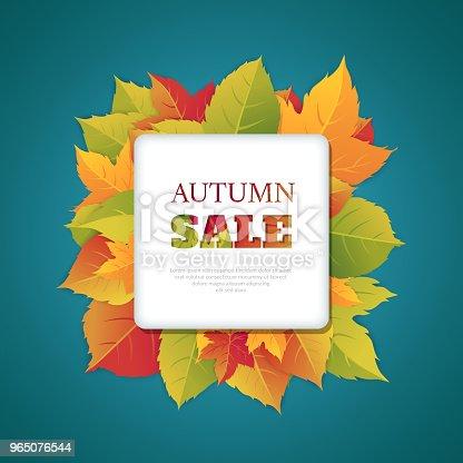 Autumn Discounts Abstract Background With Autumn Ornament - Stockowe grafiki wektorowe i więcej obrazów Biznes 965076544