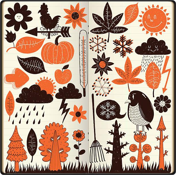ilustraciones, imágenes clip art, dibujos animados e iconos de stock de otoño y garabatos - calendario de naturaleza