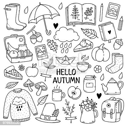 Hand drawn set of sketches: rubber boots,cloud, book, cup of tea, sweater, umbrella, pie, apple, mushrooms, leaves, flowers etc. Isolated objects on white background