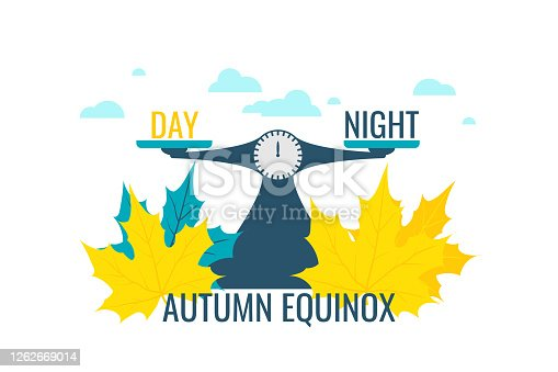 Autumn equinox vector illustration. Concept design with scales justice with balance words day and night, symbolized equal daytime and nighttime.