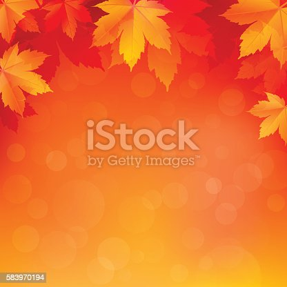 Autumn, fall background with bright golden maple leaves. Abstract illustration with bokeh lights. Blurred soft backdrop. Vector illustration. EPS10