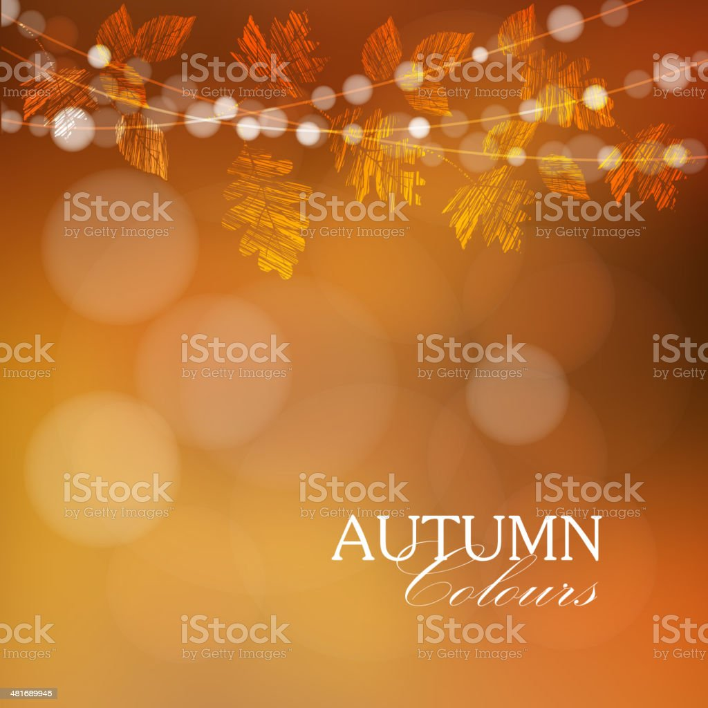 Autumn, fall background with leaves and lights, vector vector art illustration