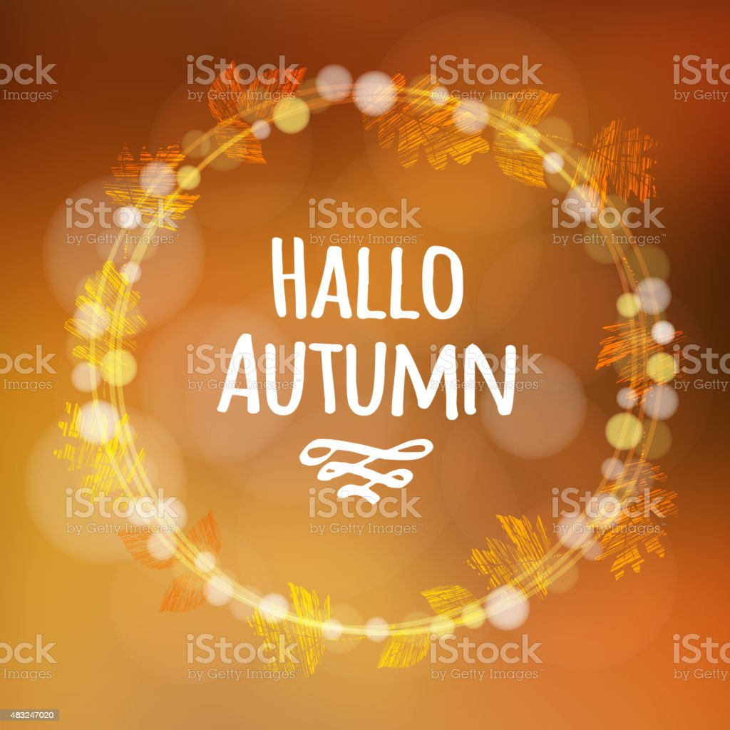 autumn fall background with wreath made of leaves lights vector