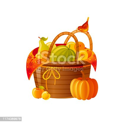 istock Autumn fall basket with fruits vegetables. Icon for harvest festival, thanksgiving day. 3d Cartoon autumn vector illustration for logo design, poster element, card, isolated on white background 1174089978