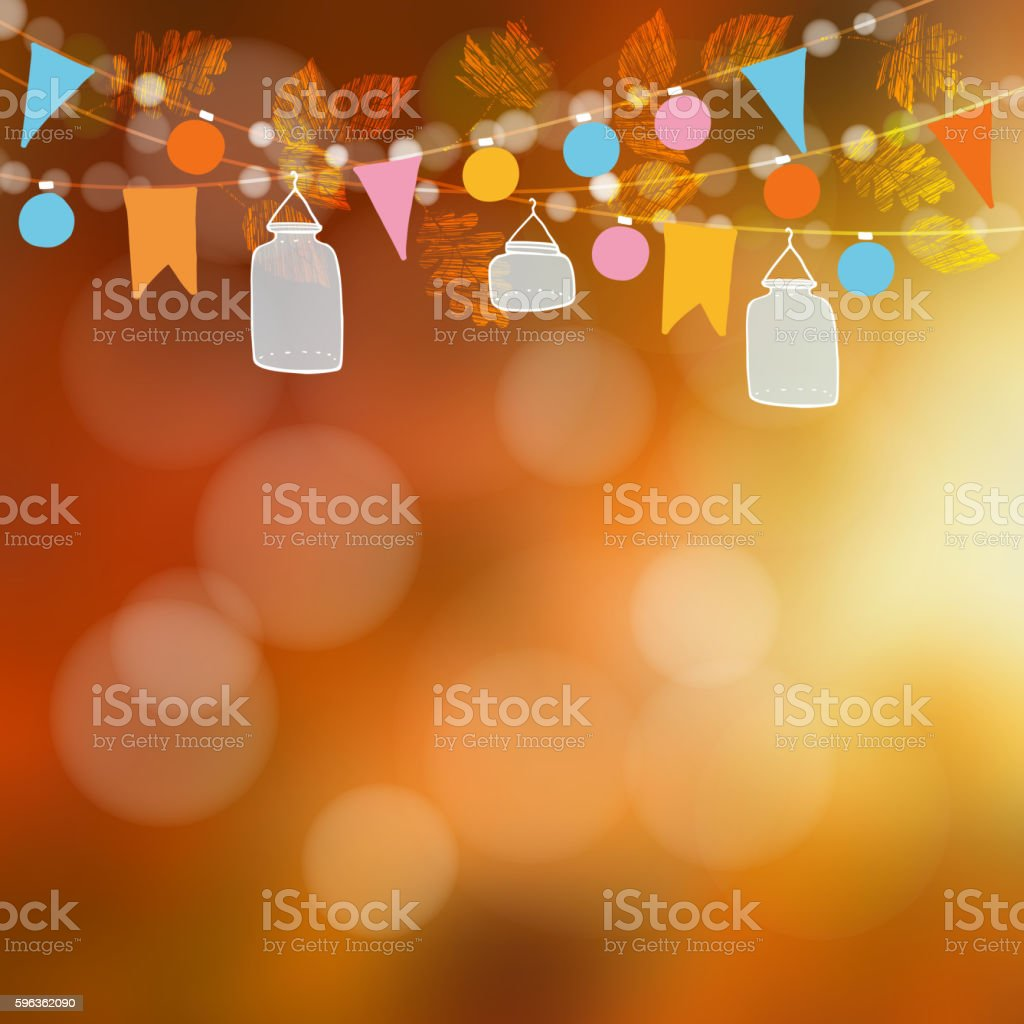 Autumn fall blurred card, banner. Garden party decoration, jars, flags. royalty-free autumn fall blurred card banner garden party decoration jars flags stock vector art & more images of announcement message