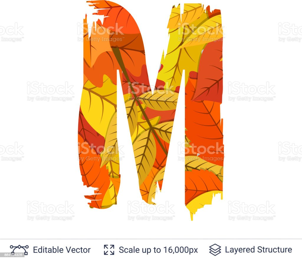 Autumn fall bright orange leaves letter. royalty-free autumn fall bright orange leaves letter stock vector art & more images of abstract