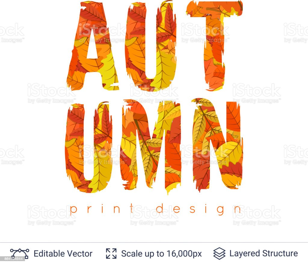 Autumn fall bright orange leaves text. royalty-free autumn fall bright orange leaves text stock vector art & more images of abstract