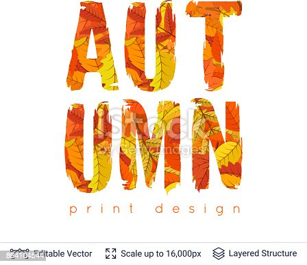 Autumn Fall Bright Orange Leaves Text Stock Vector Art & More Images of Abstract 864104544