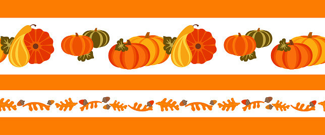 Autumn fall crop seamless vector border pattern