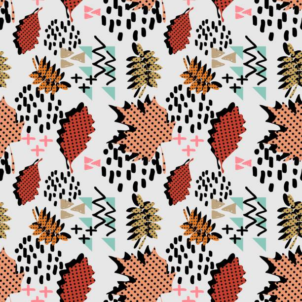 autumn fall foliage and leaves with geometrical abstract seamless pattern. Trendy backdrop for print and textile fashion. vector art illustration