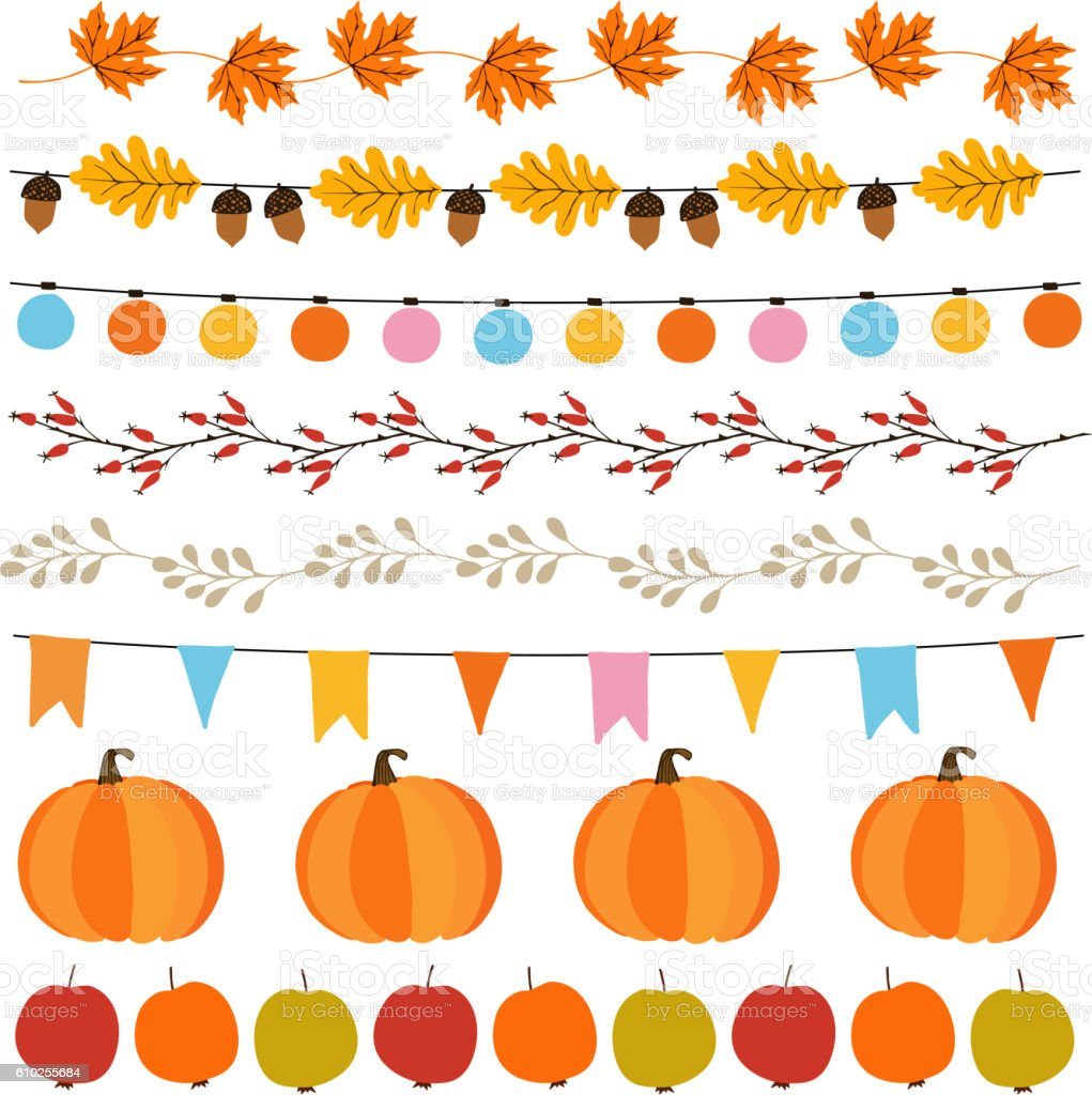 Autumn, fall garlands with lights, flags, acorns, leaves, pumpkins. vector art illustration