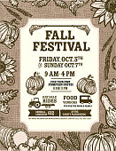 Vector illustration of an Autumn Fall Harvest Festival poster invitation design template. Includes cornucopia horn with lot's of fruits, vegetables, wheat, sunflowers, gourds, squash flowers and autumn leaves. Easy to edit with layers.