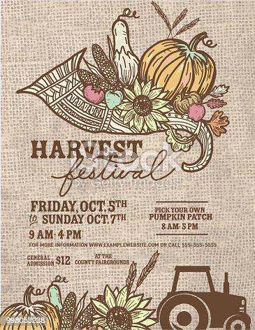 istock Plantilla de diseño de otoño caída cosecha Festival cartel ...