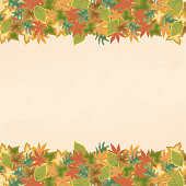 Vector Autumn, Fall Leaves, Background, Banner and Frame