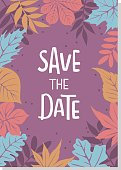 autumn fall leaves foliage border save the date wedding invitation background template with handwritten lettering text