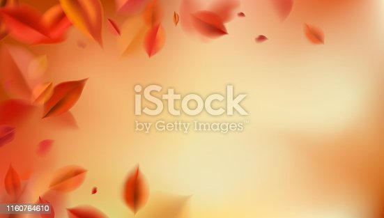 Fall background with blurred flying red leaves, autumn nature vector design