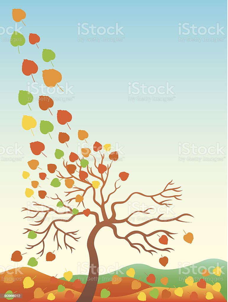 Autumn fall of the leaves. royalty-free stock vector art