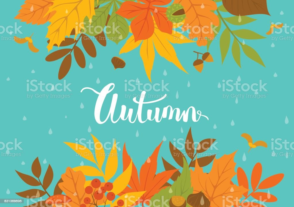 autumn fall park leaves header border background on blue texture with rain drops vector art illustration