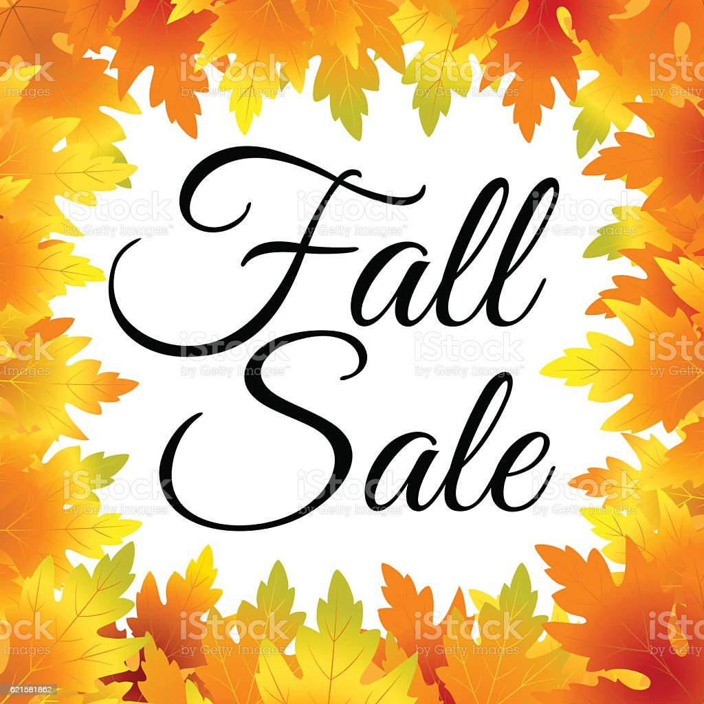 autumn fall sale flyer template with lettering and maple leaves