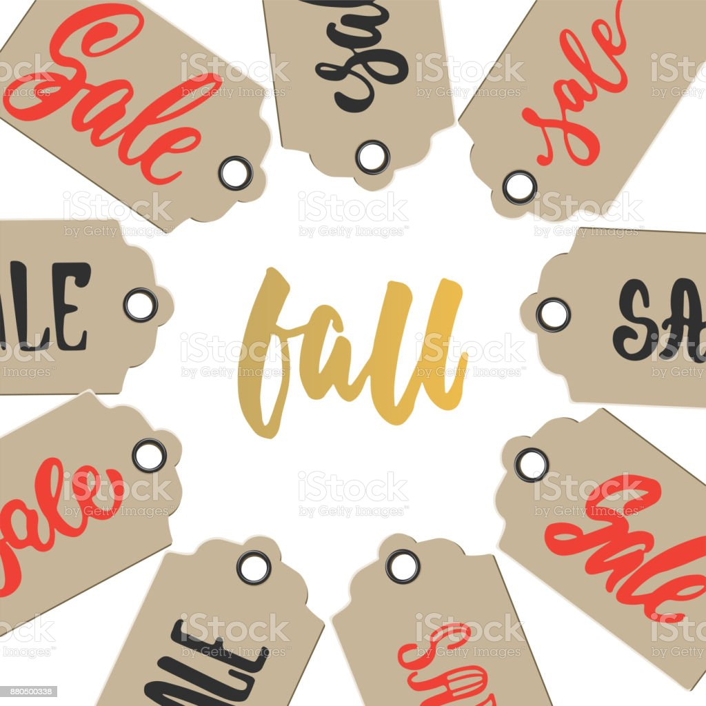 Autumn Fall Sale   Hand Drawn Latin Lettering Quote With Tags Isolated On  The White Background