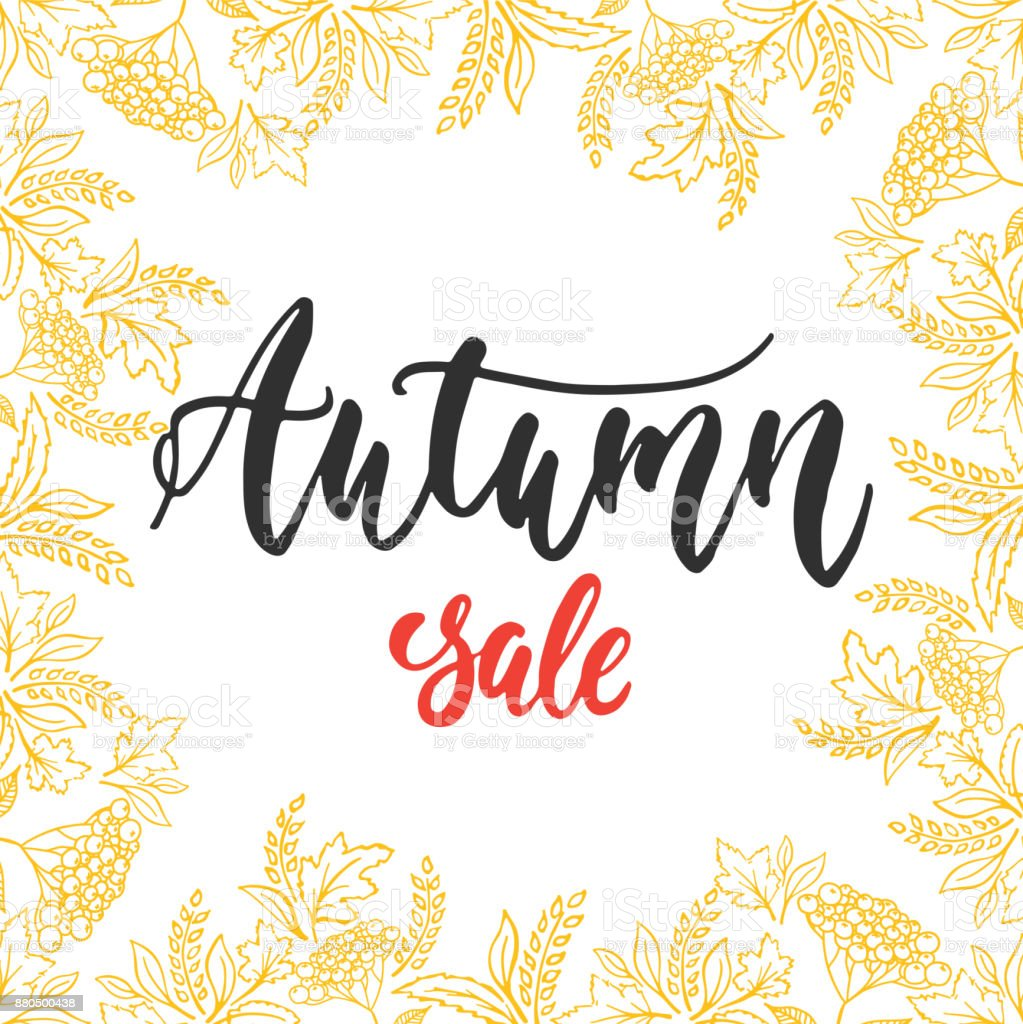 Autumn Fall Sale   Hand Drawn Latin Lettering Quote With Wreath From Leaves  Isolated On The