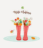 Autumn, fall season background, rain rubber boots with autumn leaves and flowers, scarf and umbrella, vector illustration