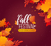 Colorful fall leaves and advertising text. Vector background design.