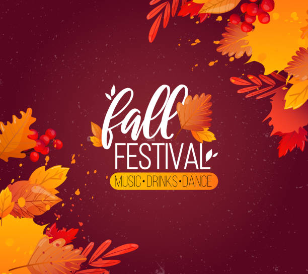 Autumn Fall Season Party Ad Poster. Colorful fall leaves and advertising text. Vector background design. fall background stock illustrations
