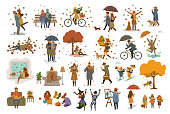 autumn fall thanksgiving halloween people outdoor and at home cartoon vector illustration set, man woman couples children walk with umbrellas, dogs, spend time in the park, ride bikes, read book, sit on bench, lying on maple leaves, decorate pumpkin, celebrate