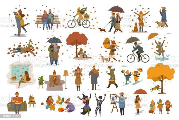 Autumn fall thanksgiving halloween people outdoor and at home cartoon vector id1055122772?b=1&k=6&m=1055122772&s=612x612&h=puekorocgq3qnm nr0umyzge0brtwxpi1tgz0637cq8=
