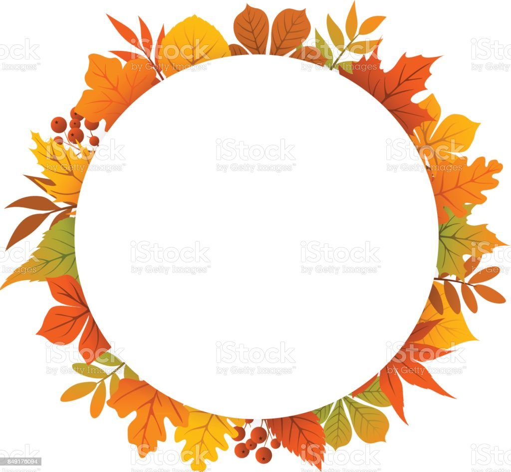 Royalty Free Vector Autumn Frame With Fall Leaf Chestnut