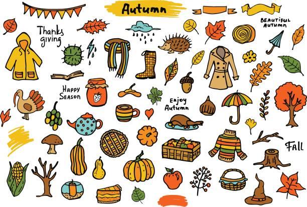 herbst herbst thanksgiving doodle saisonale bunte objekte, grunge set sammlung - kinderstiefel stock-grafiken, -clipart, -cartoons und -symbole